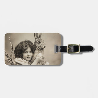 Vintage girl with giant Easter bunny Luggage Tag