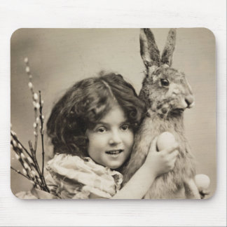 Vintage girl with giant Easter bunny Mouse Pad