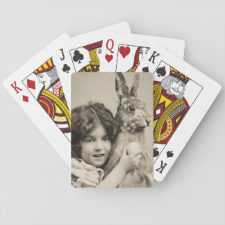 Vintage girl with giant Easter bunny Playing Cards