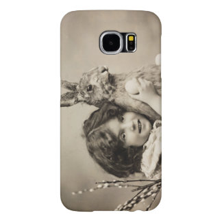 Vintage girl with giant Easter bunny Samsung Galaxy S6 Cases