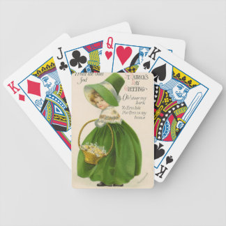 Vintage girl with green hat dress St Patrick's Day Bicycle Playing Cards