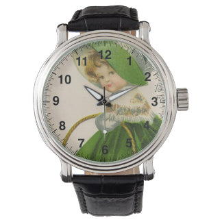 Vintage girl with green hat dress St Patrick's Day Watch