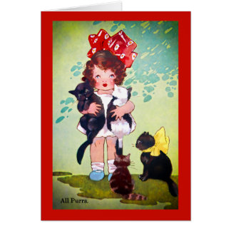 Vintage Girl with Kittens Art Card
