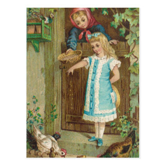 Vintage Girl With Mother Feeding Chickens Postcard