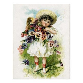 Vintage Girl with Pansies Postcard
