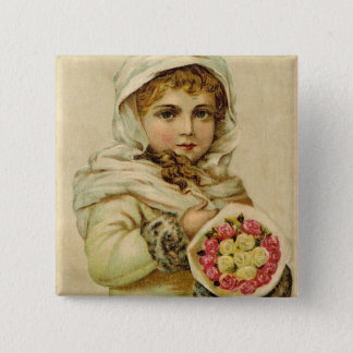 Vintage Girl with Winter Roses Button