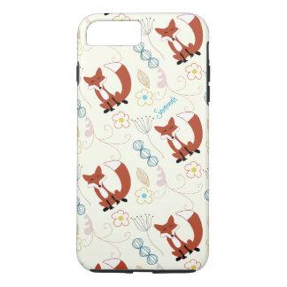 Vintage Girl Woodland Animals Fox Pattern iPhone 7 Plus Case