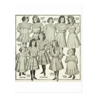 Vintage Girls Dresses, Canadian Catalog 1907 Postcard
