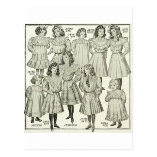 Vintage Girls Dresses, Canadian Catalog 1907 Postcard