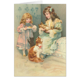 Vintage Girls' Playtime with Cat & Kittens, Card