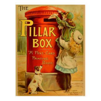 Vintage Girls Red Pillar Box Mail Postcard