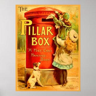 Vintage Girls Red Pillar Box Mail Postcard Art Poster