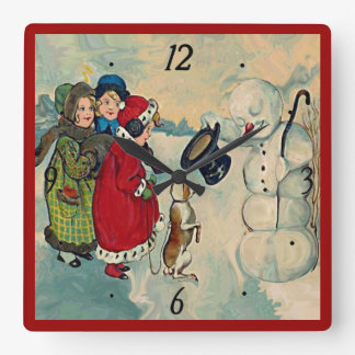 vintage girls with snowman clock