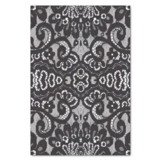 vintage girly black floral boho chic lace tissue paper