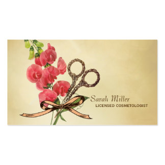 vintage girly hair stylist floral scissors pink business card template