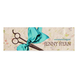 vintage girly hairstylist blue bow floral shears business card template