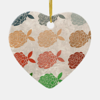 Vintage girly hipster floral romantic art deco ceramic heart ornament