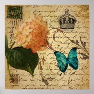 vintage girly Hydrangea butterfly swirls scripts Poster