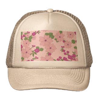 Vintage Girly Pink Cute Floral Pattern Trucker Hat