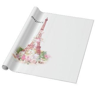 Vintage girly pink flowers Paris Eiffel Tower