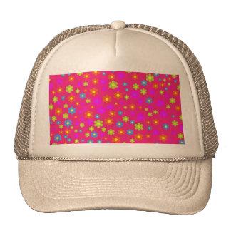 Vintage girly pink green floral pattern trucker hat