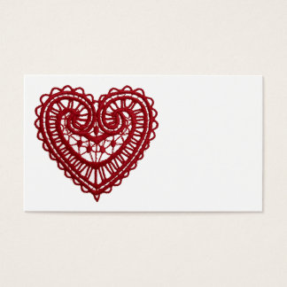 Vintage Girly  Red Lace Heart Business Card