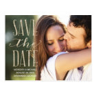 Vintage Glam | Glitter-Look Photo Save the Date Postcard