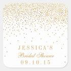 Vintage Glam Gold Confetti Bridal Shower Stickers