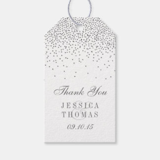 Vintage Glam Silver Confetti Wedding Gift Tags Pack Of Gift Tags