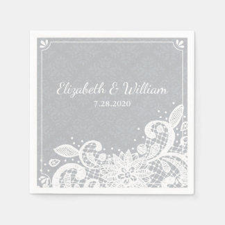 VIntage Glam White Lace Rustic Wedding Custom Paper Napkin