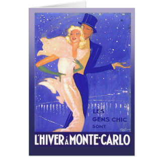 Vintage Glamorous Black Tie Couple in Monte Carlo Card