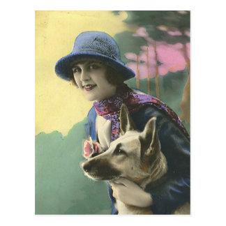 Vintage Glamour Girl and German Shepard Postcard