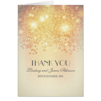 vintage glamour gold lights thank you card
