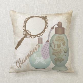 Vintage Glamour Perfumes Throw Pillow