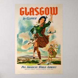 Vintage Glasgow Scotland Travel Poster
