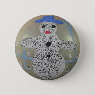 Vintage Glass Christmas Ball Snowman Hand Painted 2 Inch Round Button