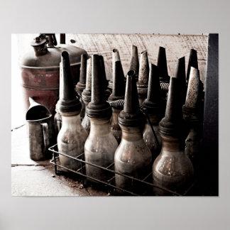 Vintage Glass Oil Bottles-Antique Repair Shop Poster