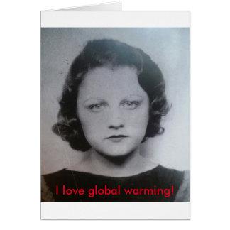 Vintage global warming lady card