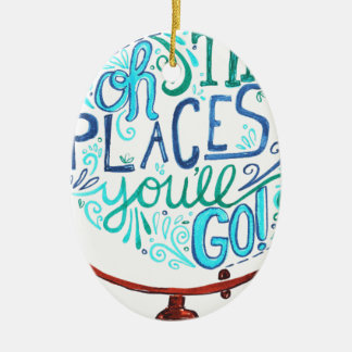 Vintage Globe - Oh The Places You'll Go Ceramic Ornament