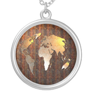 Vintage Globe Silver Plated Necklace