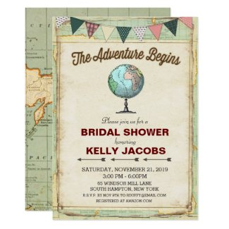 Vintage Globe Travel Bridal Shower Invitation