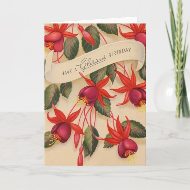 Vintage Glorious Happy Birthday Flowers Card Zazzle Ca