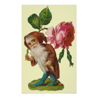 Vintage Gnome With A Pink Rose Poster Print