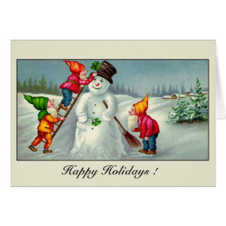 Vintage gnomes snowman season's greetings card