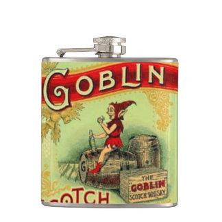 Vintage Goblin Elf Gnome Whiskey Label Hip Flask