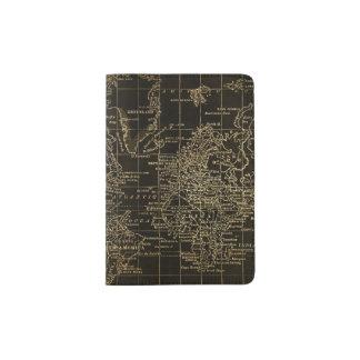 Vintage Gold and Black World Map Passport Holder