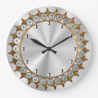 Vintage Gold and Silver Large Clock