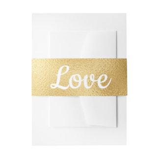 Vintage Gold and White Glam Wedding Elegant Love Invitation Belly Band
