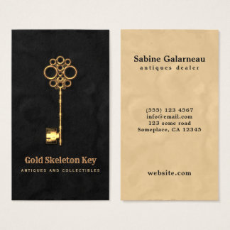 Vintage Gold Antique Skeleton Key Antiques Dealer Business Card