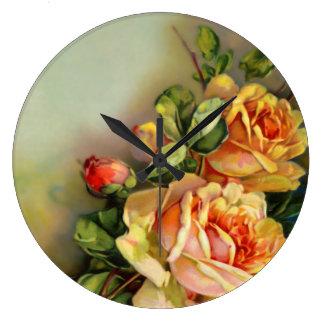 Vintage Gold Artisan Roses Large Clock